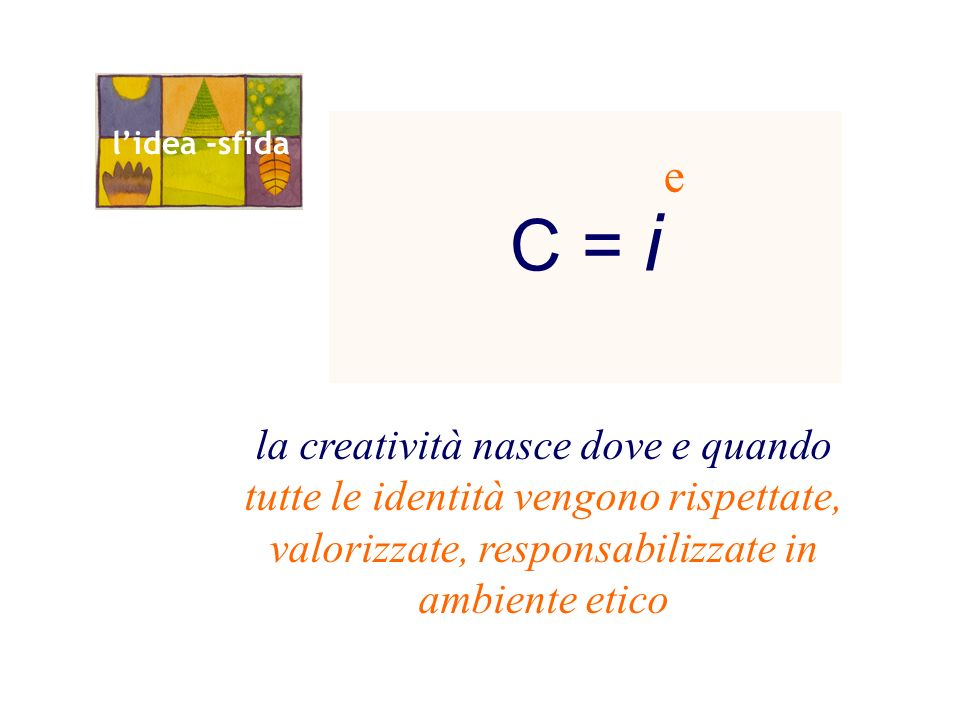 C = i la creatività nasce dove e quando tutte le identità vengono rispettate, valorizzate, responsabilizzate in ambiente etico e lidea -sfida
