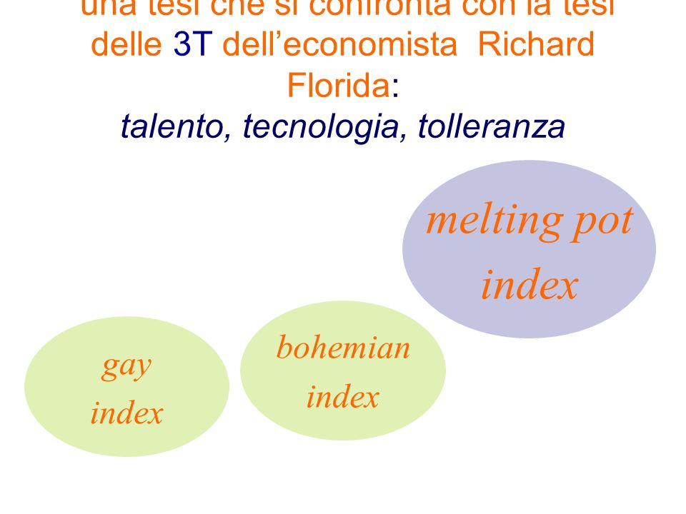 una tesi che si confronta con la tesi delle 3T delleconomista Richard Florida: talento, tecnologia, tolleranza melting pot index bohemian index gay index