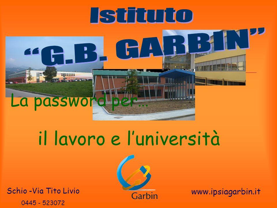 La password per… il lavoro e luniversità Schio -Via Tito Livio 0445 - 523072 www.ipsiagarbin.it