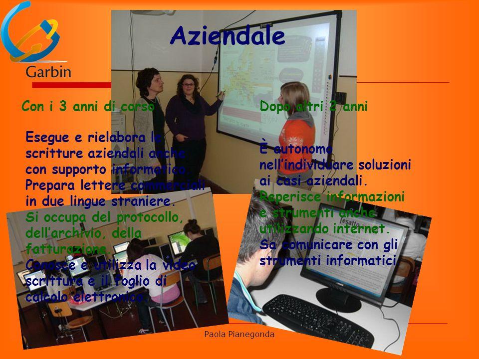 Paola Pianegonda Aziendale Con i 3 anni di corso Esegue e rielabora le scritture aziendali anche con supporto informatico.