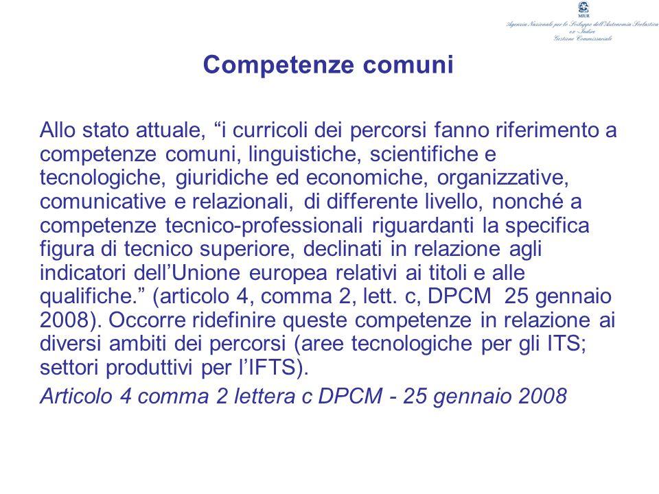 Competenze comuni Allo stato attuale, i curricoli dei percorsi fanno riferimento a competenze comuni, linguistiche, scientifiche e tecnologiche, giuri