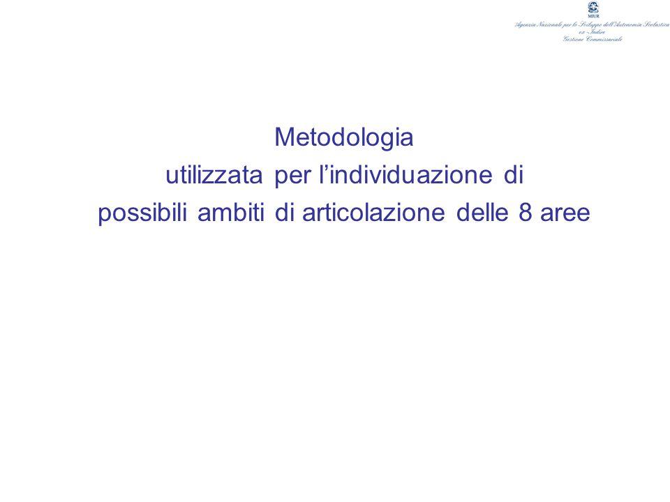 Metodologia utilizzata per lindividuazione di possibili ambiti di articolazione delle 8 aree