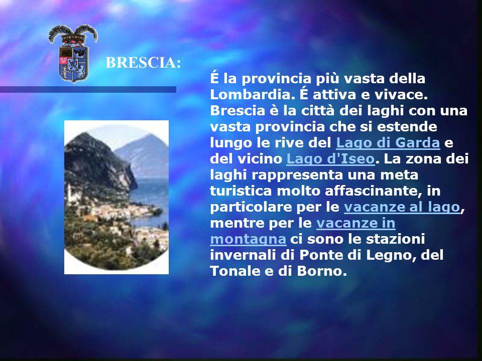 BRESCIA: É la provincia più vasta della Lombardia.
