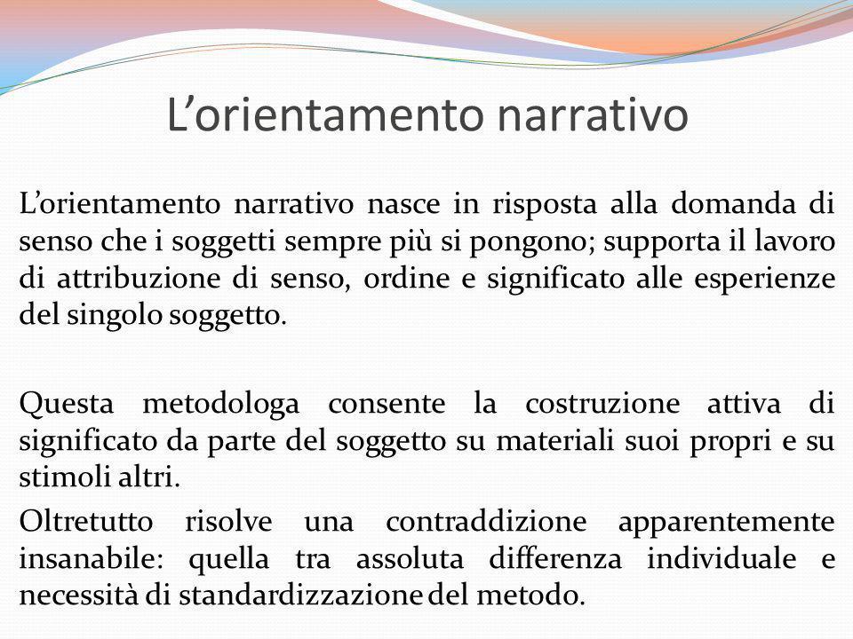 Lorientamento narrativo Lorientamento narrativo nasce in risposta alla domanda di senso che i soggetti sempre più si pongono; supporta il lavoro di at