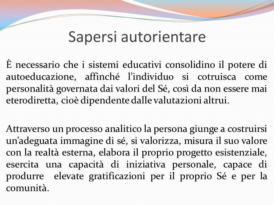 Sapersi autorientare È necessario che i sistemi educativi consolidino il potere di autoeducazione, affinché lindividuo si cotruisca come personalità g