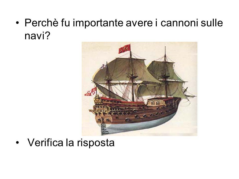 Perchè fu importante avere i cannoni sulle navi? Verifica la risposta