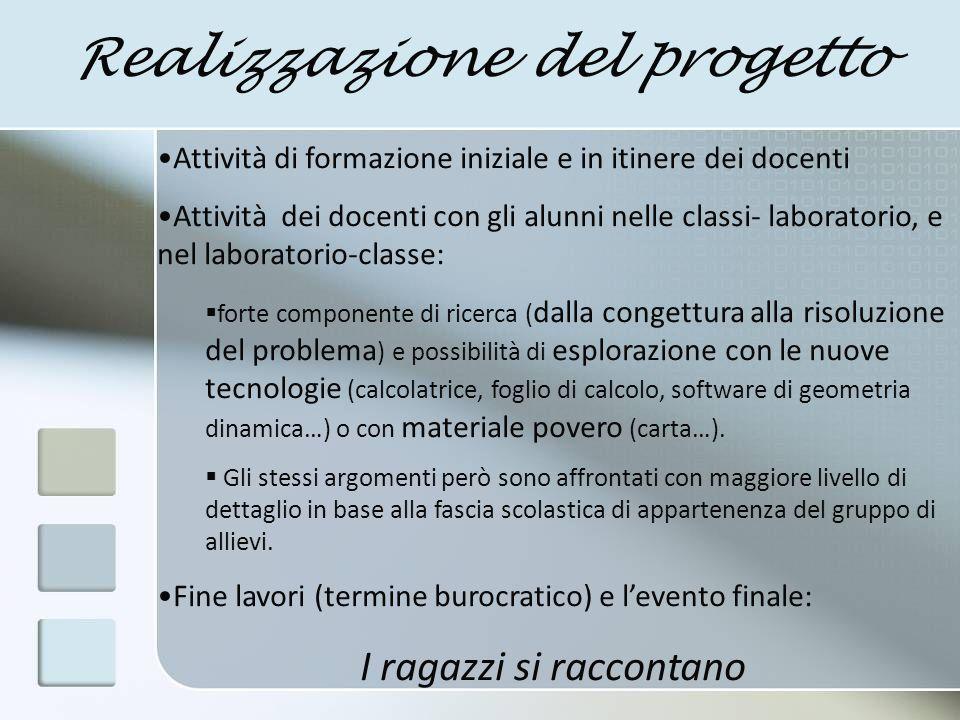 I materiali per la formazione a)I materiali del progetto Matematica & Realtà, proff.