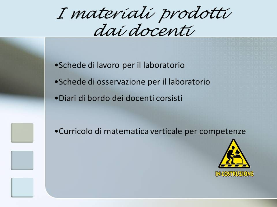 I materiali prodotti dai docenti Schede di lavoro per il laboratorio Schede di osservazione per il laboratorio Diari di bordo dei docenti corsisti Cur