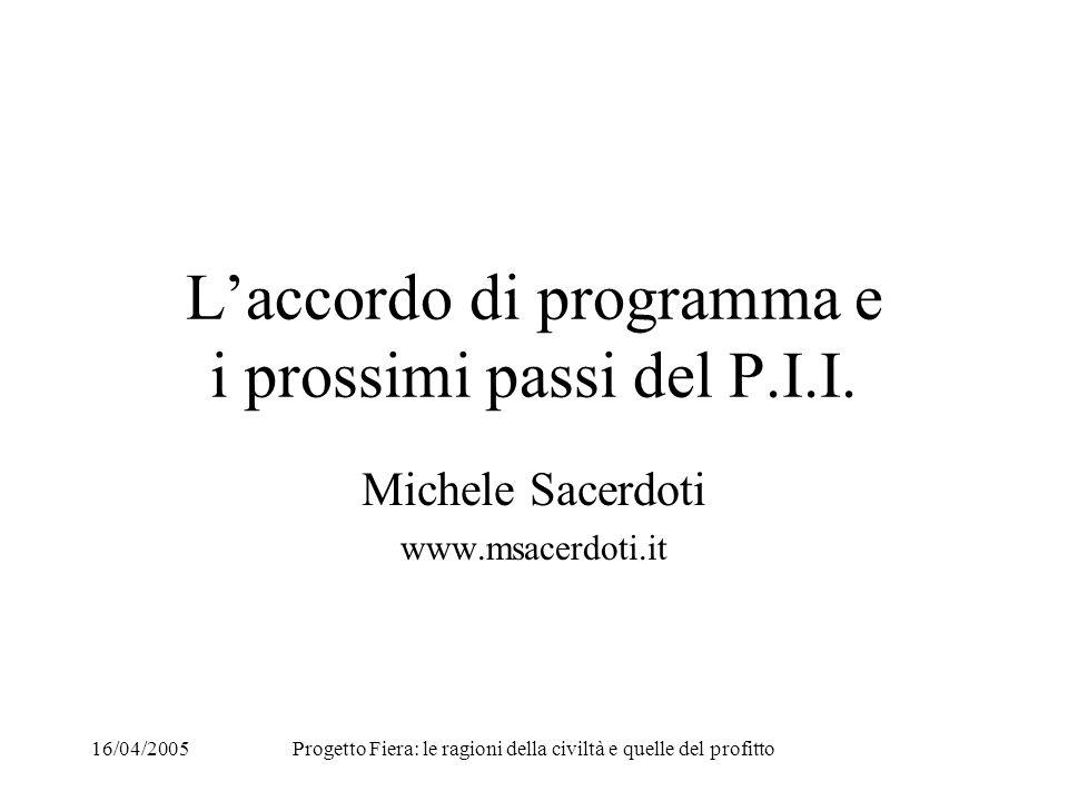 16/04/2005Progetto Fiera: le ragioni della civiltà e quelle del profitto Laccordo di programma e i prossimi passi del P.I.I.