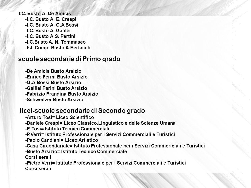 -I.C. Busto A. De Amicis -I.C. Busto A. E. Crespi -I.C. Busto A. G.A Bossi -I.C. Busto A. Galilei -I.C. Busto A.S. Pertini -I.C.Busto A. N. Tommaseo -