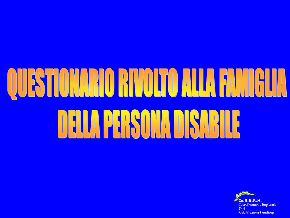QUESTIONARIO COMPILATO DALLE FAMIGLIE DELLE PERSONE DISABILI