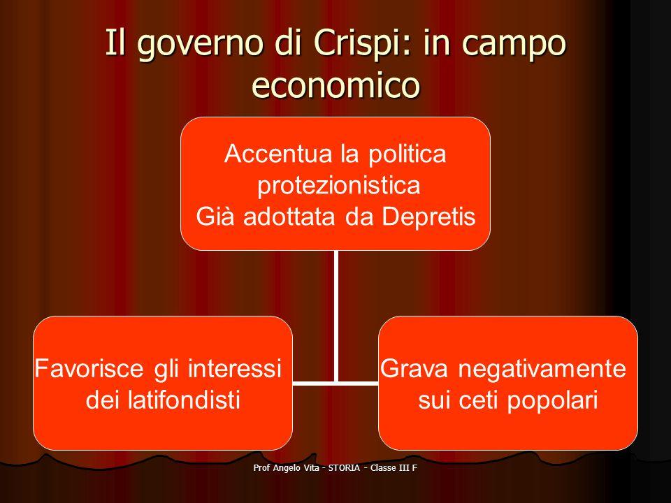 Prof Angelo Vita - STORIA - Classe III F Il governo di Crispi: in campo economico Accentua la politica protezionistica Già adottata da Depretis Favori