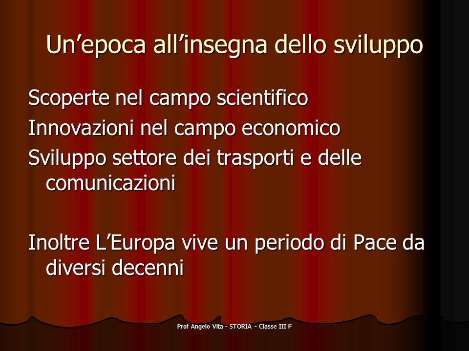 Prof Angelo Vita - STORIA - Classe III F Unepoca allinsegna dello sviluppo Scoperte nel campo scientifico Innovazioni nel campo economico Sviluppo set