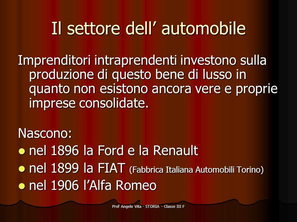 Prof Angelo Vita - STORIA - Classe III F Il settore dell automobile Imprenditori intraprendenti investono sulla produzione di questo bene di lusso in
