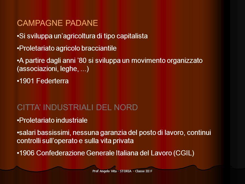 Prof Angelo Vita - STORIA - Classe III F CAMPAGNE PADANE Si sviluppa unagricoltura di tipo capitalista Proletariato agricolo bracciantile A partire da