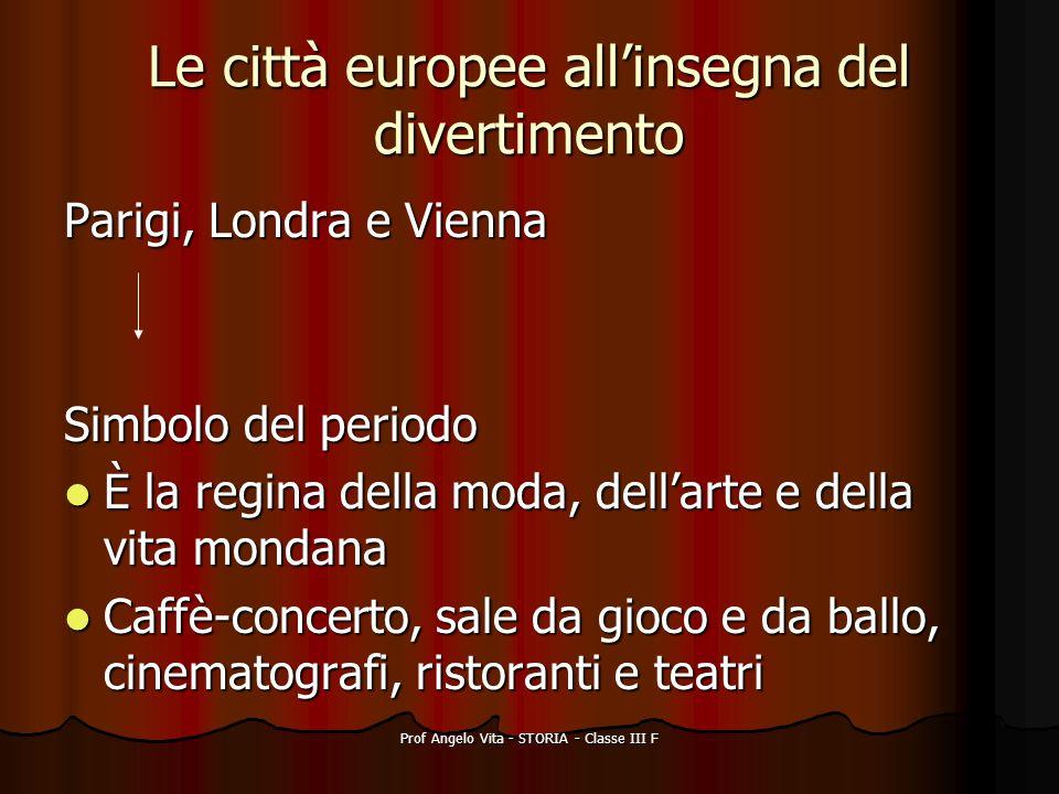 Prof Angelo Vita - STORIA - Classe III F Le città europee allinsegna del divertimento Parigi, Londra e Vienna Simbolo del periodo È la regina della mo