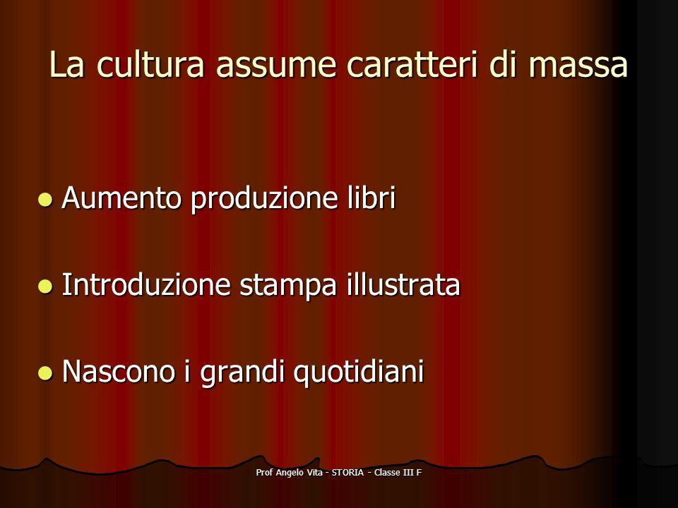 Prof Angelo Vita - STORIA - Classe III F La cultura assume caratteri di massa Aumento produzione libri Aumento produzione libri Introduzione stampa il