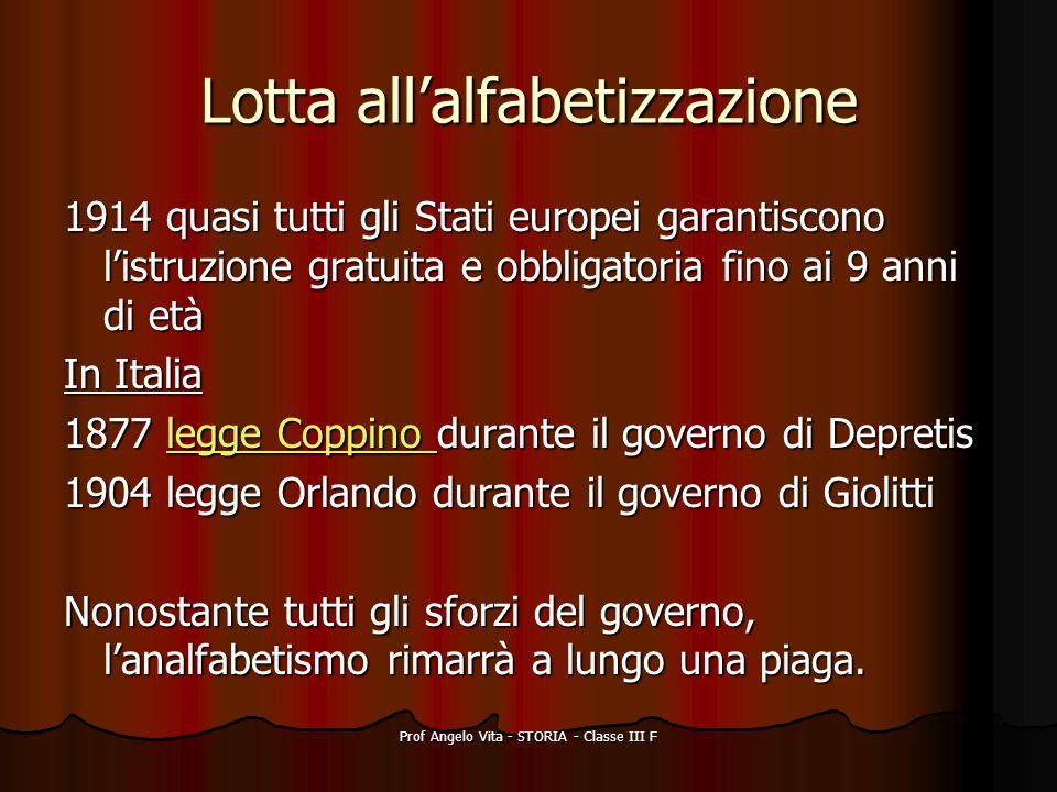 Prof Angelo Vita - STORIA - Classe III F Lotta allalfabetizzazione 1914 quasi tutti gli Stati europei garantiscono listruzione gratuita e obbligatoria