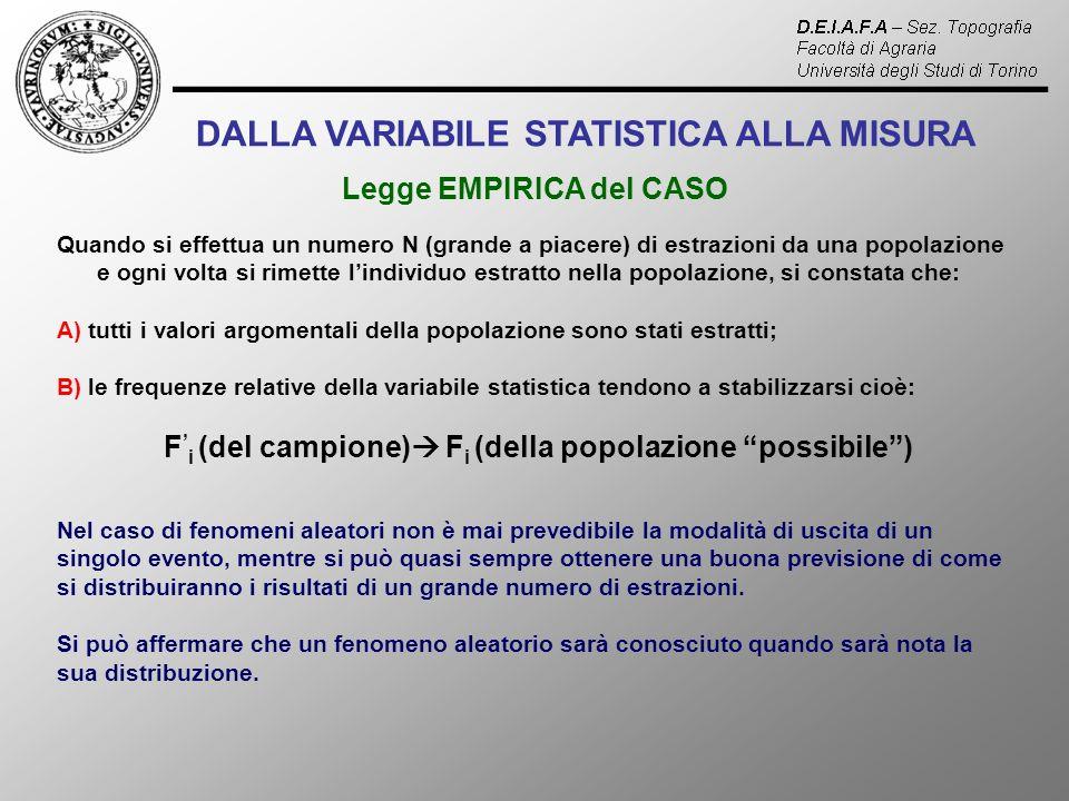DALLA VARIABILE STATISTICA ALLA MISURA Legge EMPIRICA del CASO Quando si effettua un numero N (grande a piacere) di estrazioni da una popolazione e ogni volta si rimette lindividuo estratto nella popolazione, si constata che: A) tutti i valori argomentali della popolazione sono stati estratti; B) le frequenze relative della variabile statistica tendono a stabilizzarsi cioè: F i (del campione) F i (della popolazione possibile) Nel caso di fenomeni aleatori non è mai prevedibile la modalità di uscita di un singolo evento, mentre si può quasi sempre ottenere una buona previsione di come si distribuiranno i risultati di un grande numero di estrazioni.