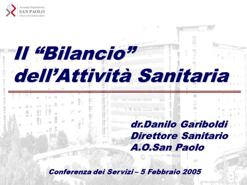 Il Bilancio dellAttività Sanitaria dr.Danilo Gariboldi Direttore Sanitario A.O.San Paolo Conferenza dei Servizi – 5 Febbraio 2005