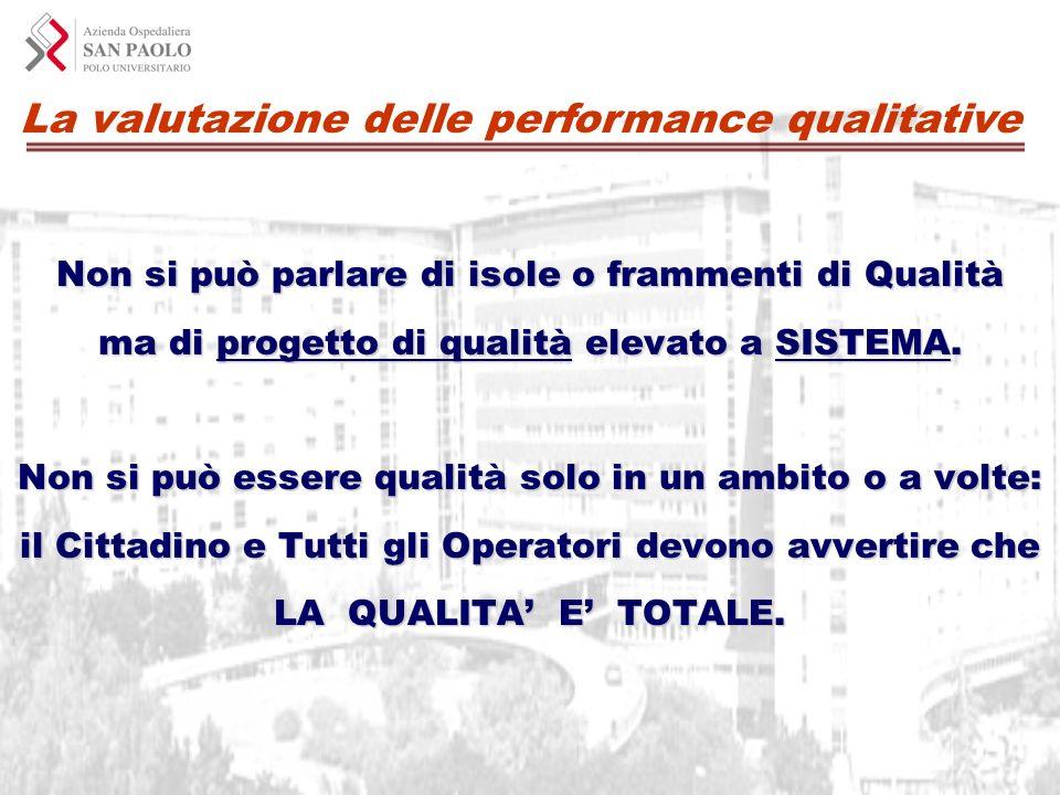 La valutazione delle performance qualitative Non si può parlare di isole o frammenti di Qualità ma di progetto di qualità elevato a SISTEMA. Non si pu