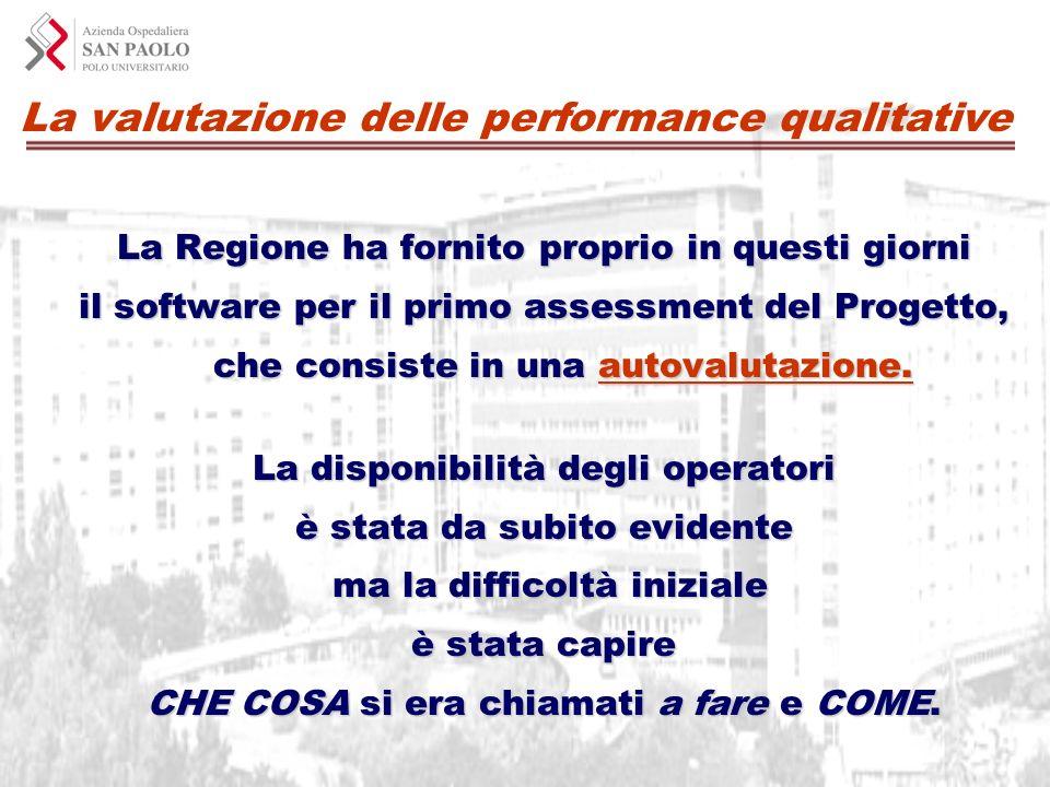 La valutazione delle performance qualitative La Regione ha fornito proprio in questi giorni il software per il primo assessment del Progetto, che cons