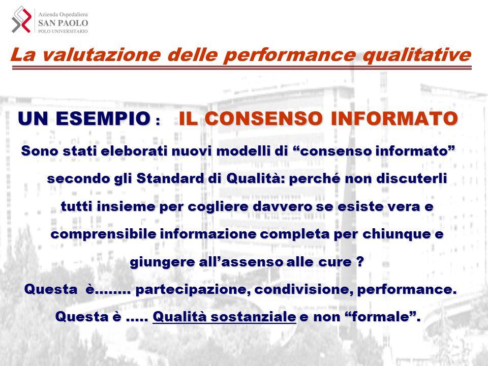 La valutazione delle performance qualitative UN ESEMPIO : IL CONSENSO INFORMATO Sono stati eleborati nuovi modelli di consenso informato secondo gli S