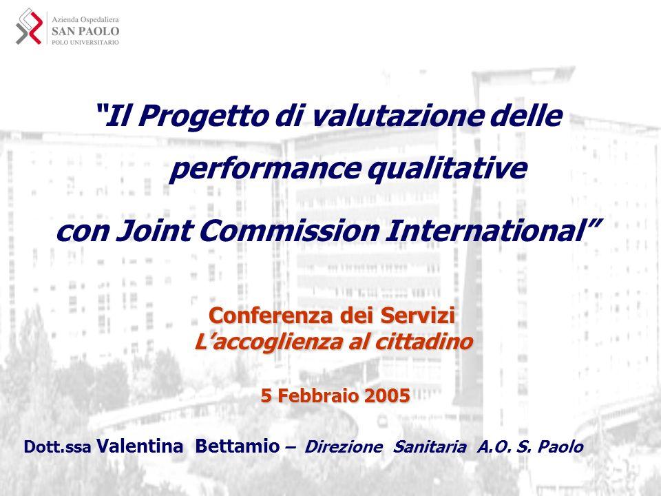 Il Progetto di valutazione delle performance qualitative con Joint Commission International Dott.ssa Valentina Bettamio – Direzione Sanitaria A.O. S.
