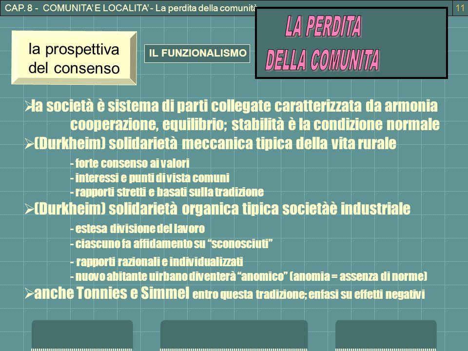 CAP. 8 - COMUNITA E LOCALITA - La perdita della comunità11 IL FUNZIONALISMO la prospettiva del consenso la società è sistema di parti collegate caratt