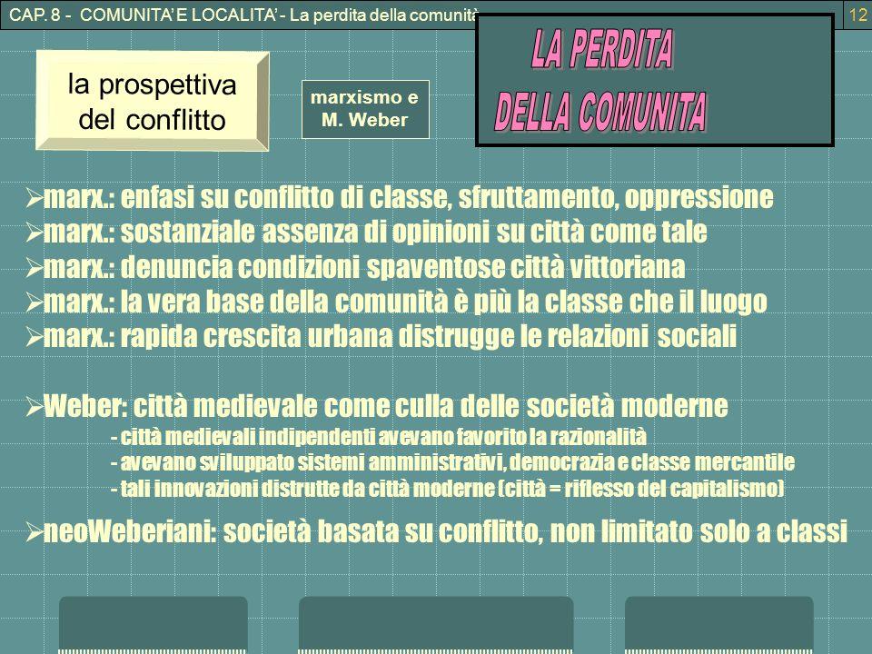 CAP. 8 - COMUNITA E LOCALITA - La perdita della comunità12 marxismo e M. Weber la prospettiva del conflitto marx.: enfasi su conflitto di classe, sfru