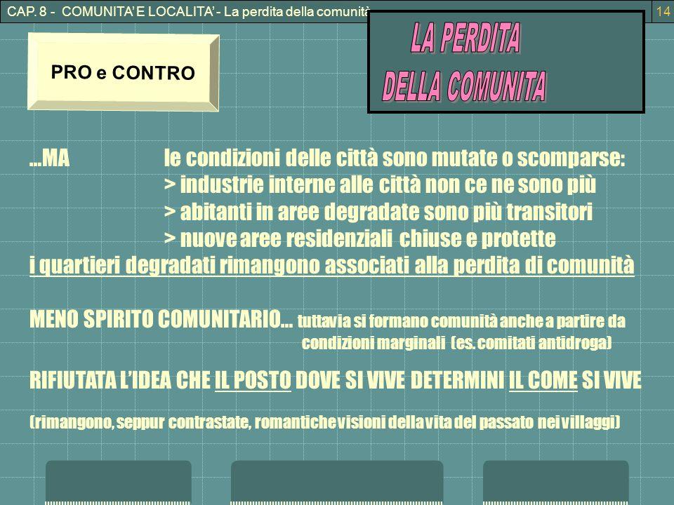 CAP. 8 - COMUNITA E LOCALITA - La perdita della comunità14 PRO e CONTRO …MAle condizioni delle città sono mutate o scomparse: > industrie interne alle