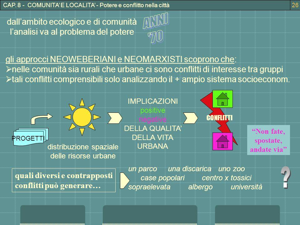 CAP. 8 - COMUNITA E LOCALITA - Potere e conflitto nella città26 dallambito ecologico e di comunità lanalisi va al problema del potere gli approcci NEO