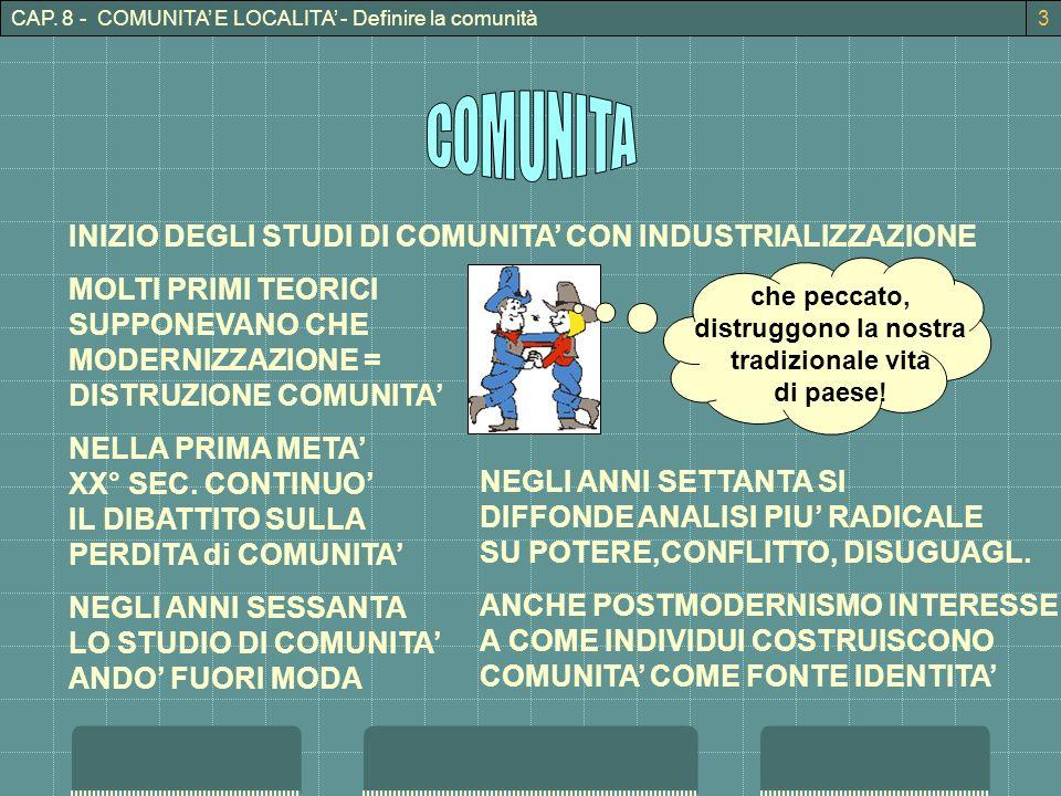 CAP. 8 - COMUNITA E LOCALITA - Definire la comunità3 INIZIO DEGLI STUDI DI COMUNITA CON INDUSTRIALIZZAZIONE MOLTI PRIMI TEORICI SUPPONEVANO CHE MODERN
