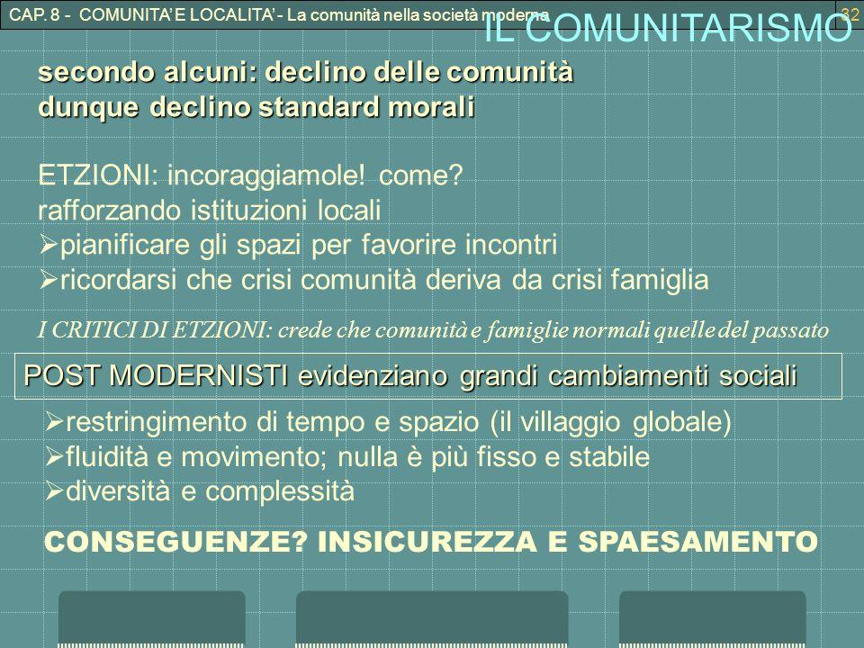 CAP. 8 - COMUNITA E LOCALITA - La comunità nella società moderna32 IL COMUNITARISMO secondo alcuni: declino delle comunità dunque declino standard mor