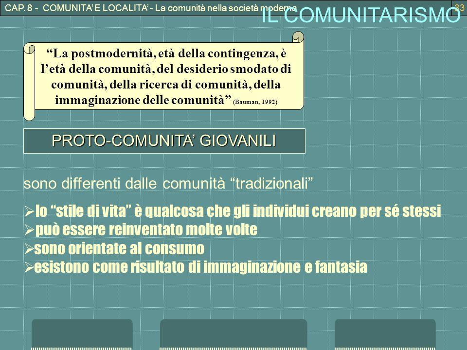 CAP. 8 - COMUNITA E LOCALITA - La comunità nella società moderna33 IL COMUNITARISMO PROTO-COMUNITA GIOVANILI sono differenti dalle comunità tradiziona