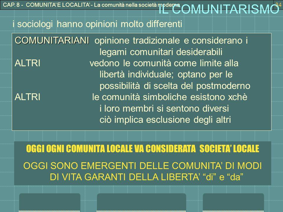 CAP. 8 - COMUNITA E LOCALITA - La comunità nella società moderna34 IL COMUNITARISMO COMUNITARIANI COMUNITARIANI opinione tradizionale e considerano i