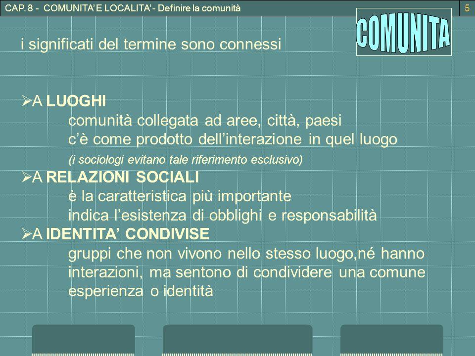 CAP. 8 - COMUNITA E LOCALITA - Definire la comunità5 i significati del termine sono connessi A LUOGHI comunità collegata ad aree, città, paesi cè come
