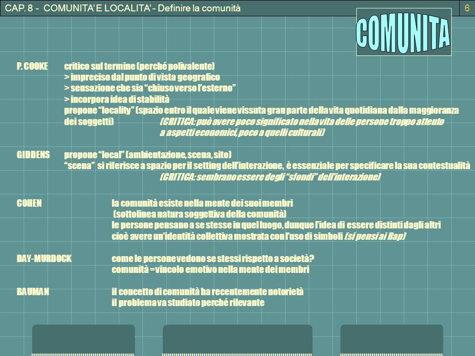 CAP. 8 - COMUNITA E LOCALITA - Definire la comunità6 P. COOKEcritico sul termine (perché polivalente) > impreciso dal punto di vista geografico > sens