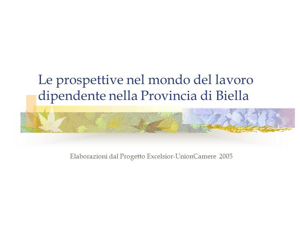Le prospettive nel mondo del lavoro dipendente nella Provincia di Biella Elaborazioni dal Progetto Excelsior-UnionCamere 2005