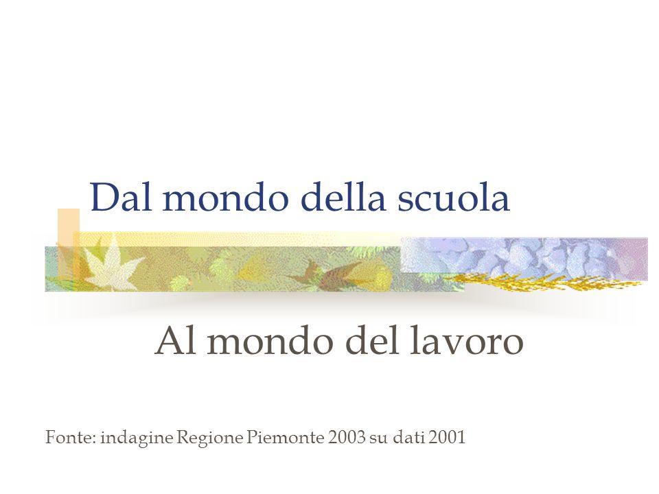 Dal mondo della scuola Al mondo del lavoro Fonte: indagine Regione Piemonte 2003 su dati 2001