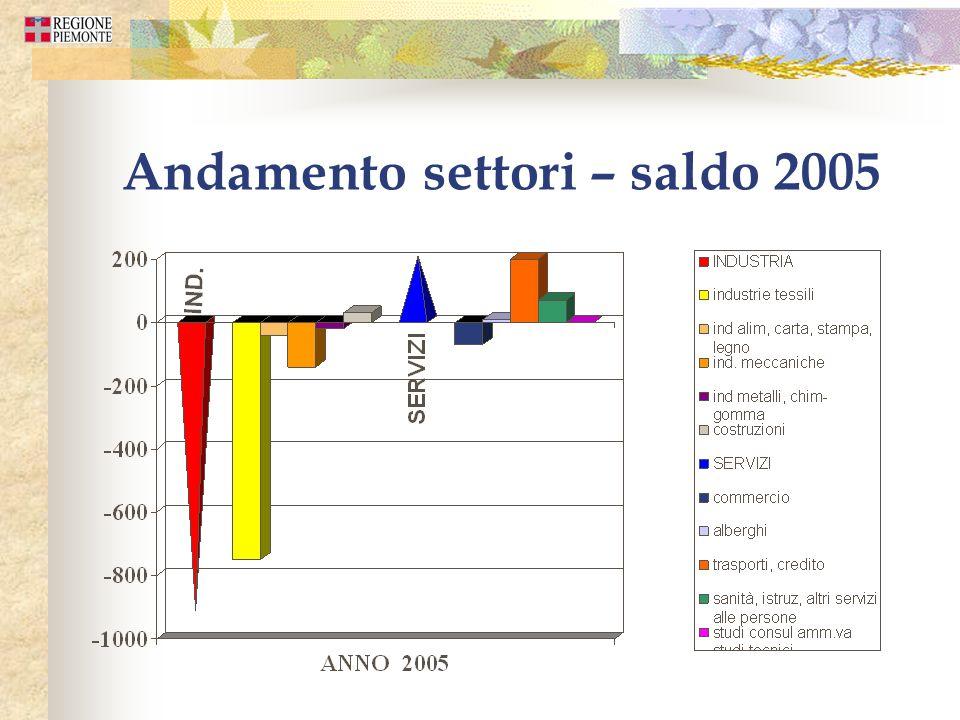 Andamento settori – saldo 2005