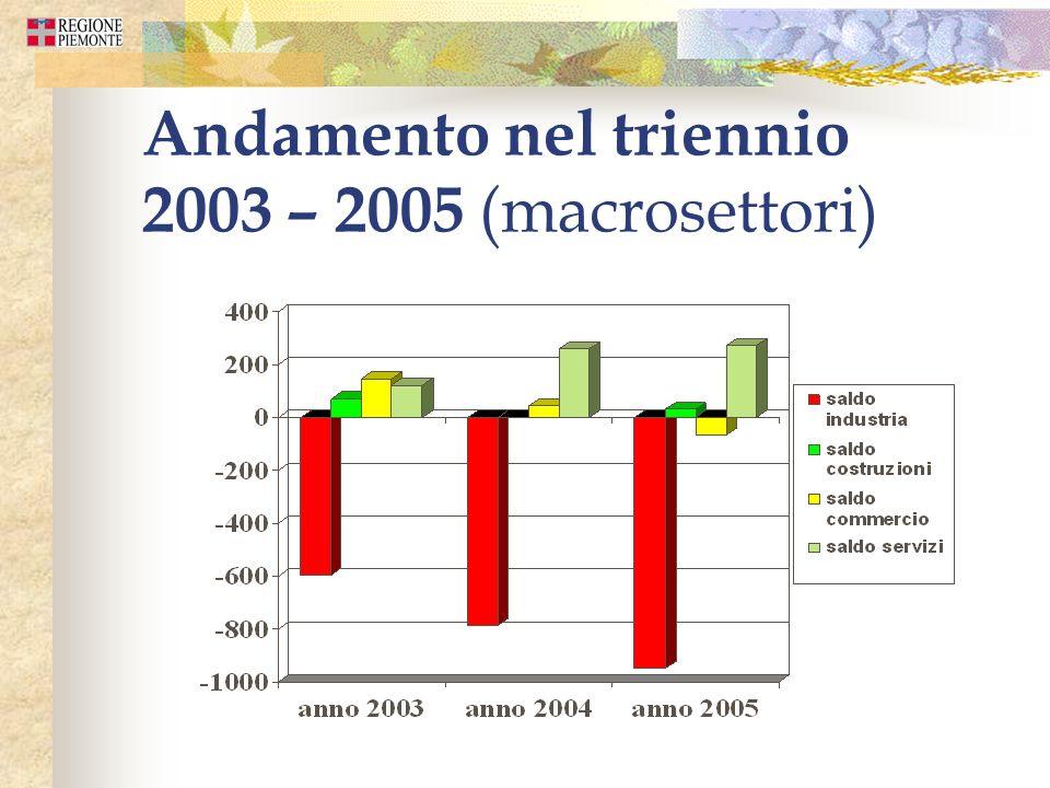 Andamento nel triennio 2003 – 2005 (macrosettori)