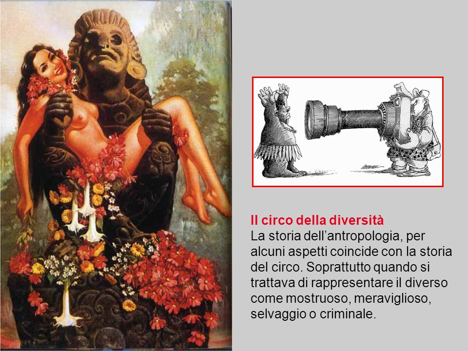 Il circo della diversità La storia dellantropologia, per alcuni aspetti coincide con la storia del circo. Soprattutto quando si trattava di rappresent