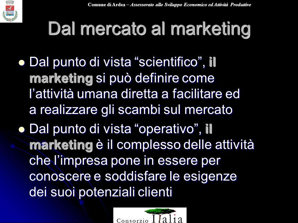 Comune di Ardea – Assessorato allo Sviluppo Economico ed Attività Produttive Dal mercato al marketing Dal punto di vista scientifico, il marketing si