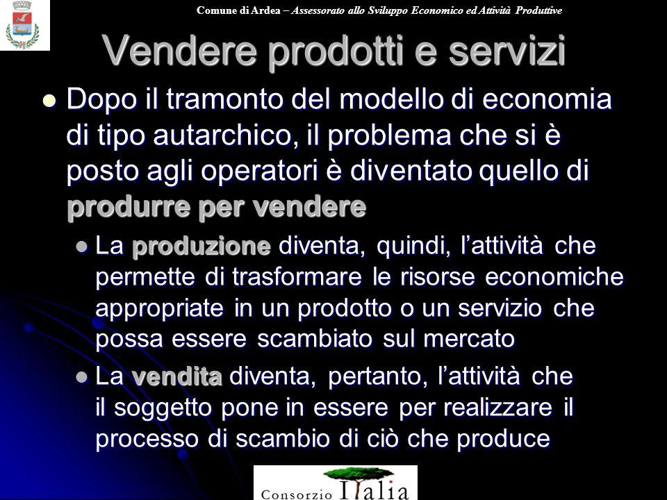Comune di Ardea – Assessorato allo Sviluppo Economico ed Attività Produttive Vendere prodotti e servizi Dopo il tramonto del modello di economia di ti