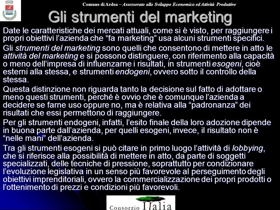 Comune di Ardea – Assessorato allo Sviluppo Economico ed Attività Produttive Gli strumenti del marketing Date le caratteristiche dei mercati attuali,