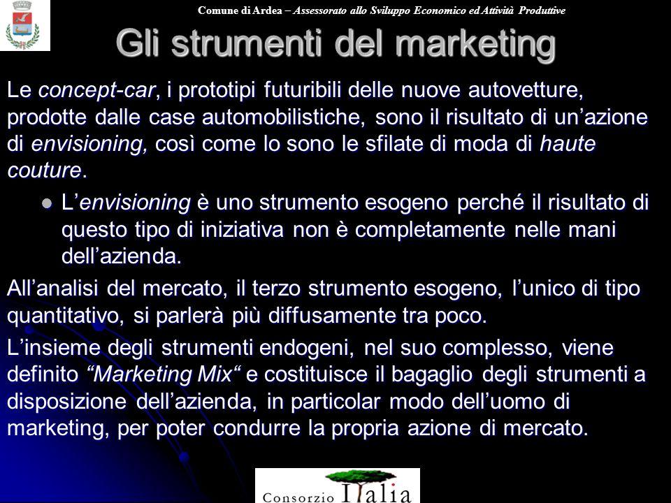 Comune di Ardea – Assessorato allo Sviluppo Economico ed Attività Produttive Gli strumenti del marketing Le concept-car, i prototipi futuribili delle