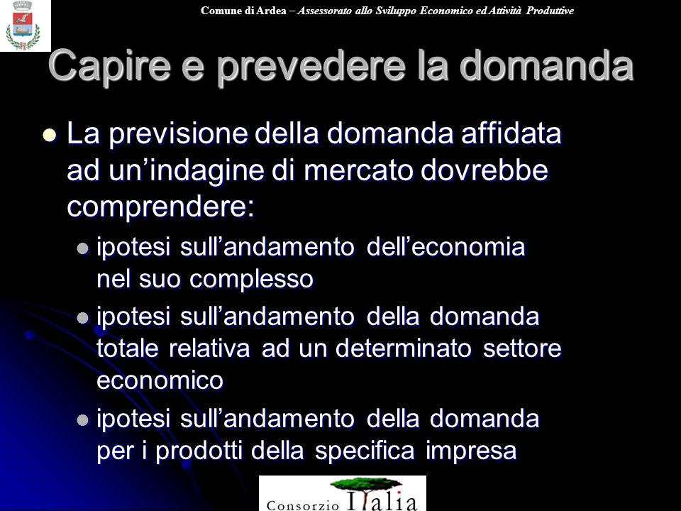 Comune di Ardea – Assessorato allo Sviluppo Economico ed Attività Produttive Capire e prevedere la domanda La previsione della domanda affidata ad uni