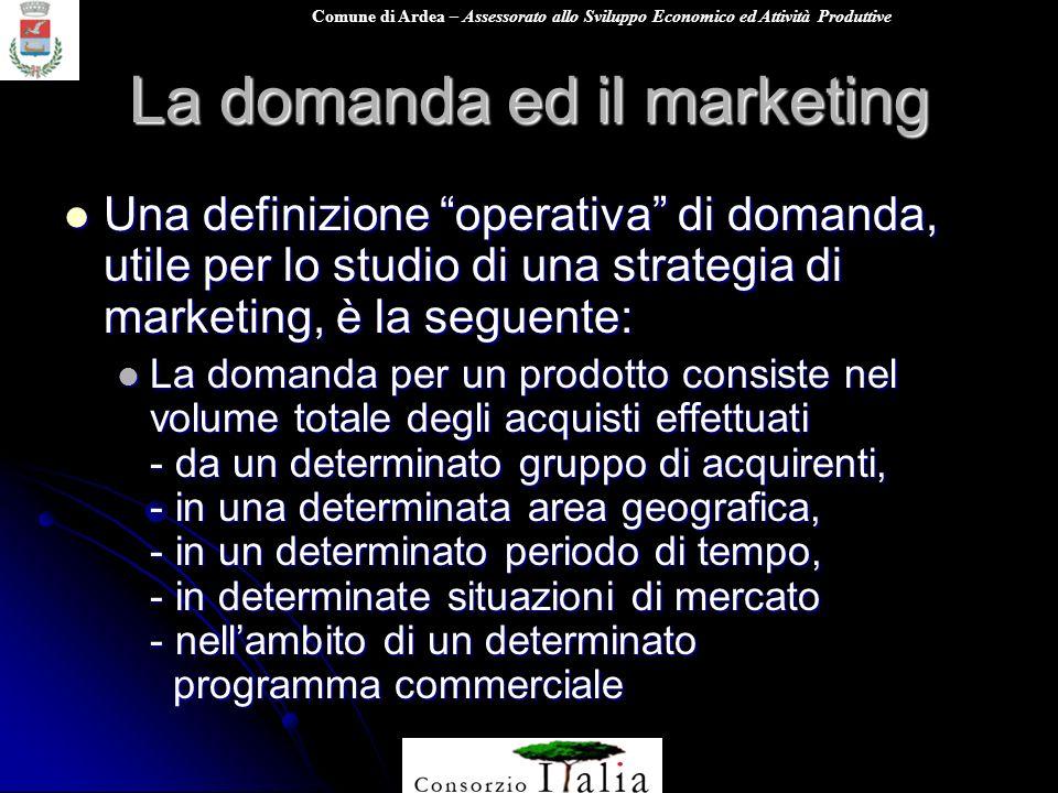 Comune di Ardea – Assessorato allo Sviluppo Economico ed Attività Produttive La domanda ed il marketing Una definizione operativa di domanda, utile pe