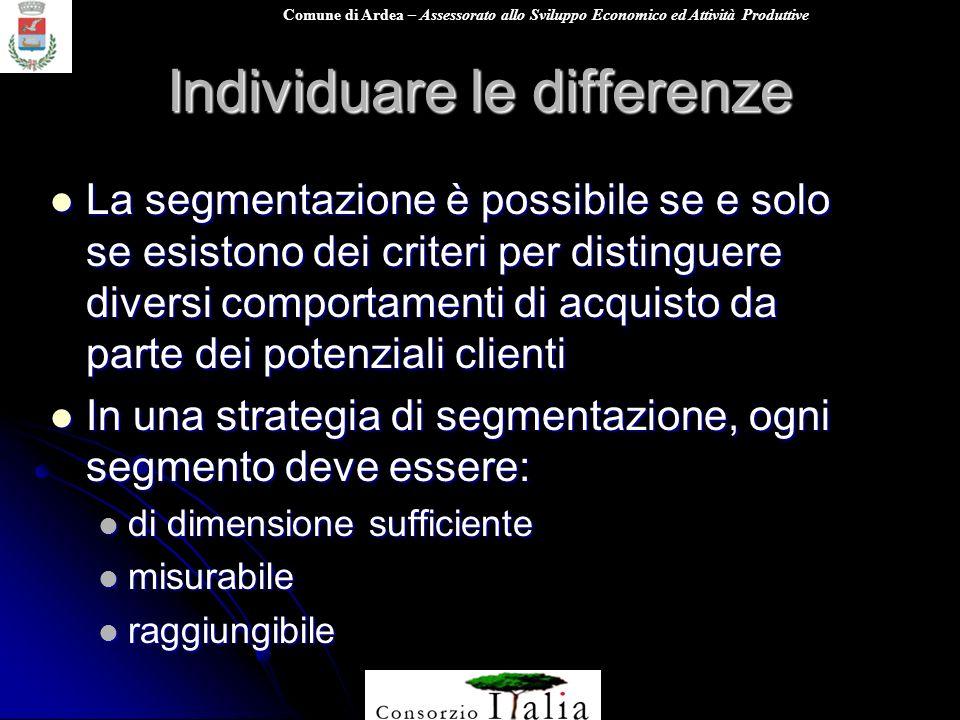 Comune di Ardea – Assessorato allo Sviluppo Economico ed Attività Produttive Individuare le differenze La segmentazione è possibile se e solo se esist